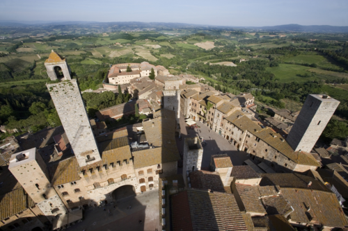 An aerial view of San Gimignano, an Italian hill town in Tuscany, south-west of Florence