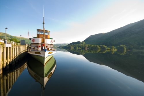 A steamer on the lake at Ullswater