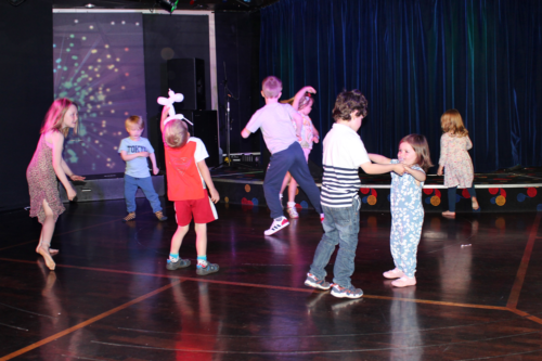 Children dance at the Brittany Ferries' disco