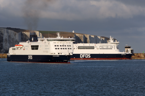 two ferries cross each other in the English Channel in Dover