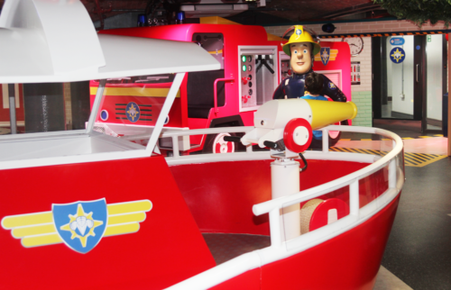 Jupiter and Titan in the Fireman Sam area at Mattel Play
