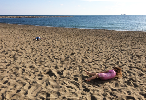 children on a sunny beach in Malaga