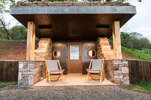 A hobbit hole accommodation at the Quiet Site in the Lake District
