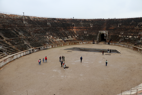 Inside the Arena amphitheatre in Verona, Italy