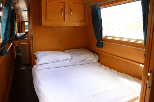 One f the bedrooms on the canal boat Askrigg with a double bed