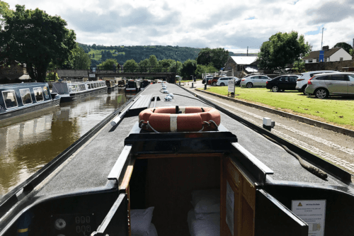 About to depart in a narrowboat from Trevor basin