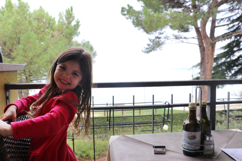 At a restaurant overlooking Lake Garda at Bella Italia campsite