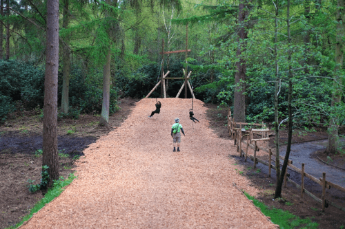 A mum and daughter on the zip wires at BeWILDerwood Cheshire