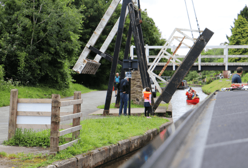 Our daughter helps lift a bridge at Froncysyllte in Wales