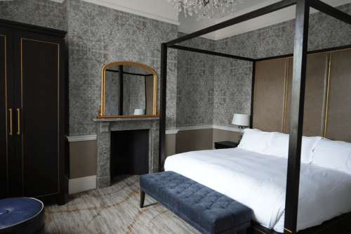 Bedroom in the junior suite at Buxton Crescent Hotel