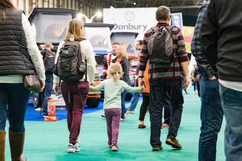 A family at the Caravan, Camping and Motorhome Show 2020