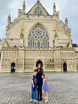 Mum and children outside Exeter Cathedral