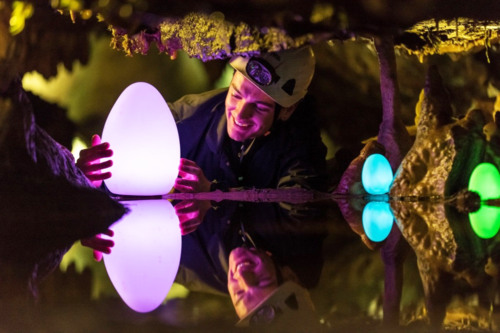 Glow in the dark eggs at Cheddar Gorge