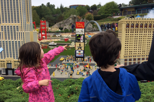 Two children enjoy Miniland at Legoland Windsor