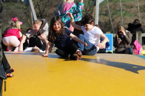 Children on the bouncing pillow at Cockfields Farm
