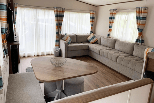 The lounge area of our Tamar static caravan at Cofton Holiday Park