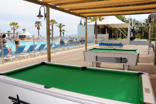 Pool tables at Marina d'Erba Rossa holiday park, Corsica