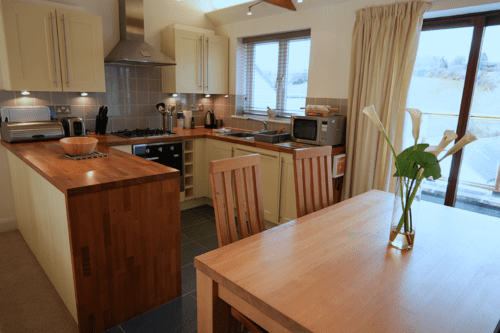 The kitchen of our cottage at The Valley, Truro, Cornwall