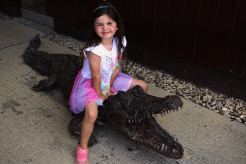 A girl sits on a pretend crocodile