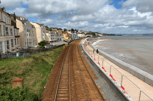 Dawlish railway, beach and sea