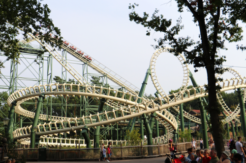 Roller coasters at Efteling Theme Park in the Netherlands/Holland