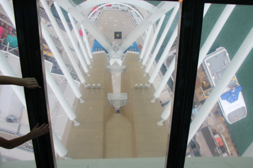 The glass floor with a view down from Spinnaker Tower in Portsmouth