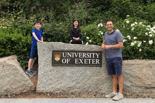 Dad and children at Exeter University