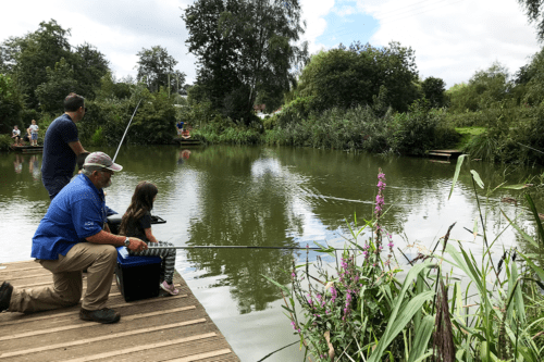 Children's fishing lesson at Cofton Holidays