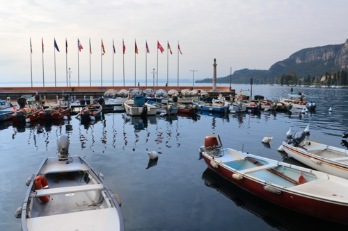 Boats at the town of Garda in Lake Garda, Italy