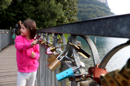 A bridge of padlocks in Garda, Lake Garda, Italy