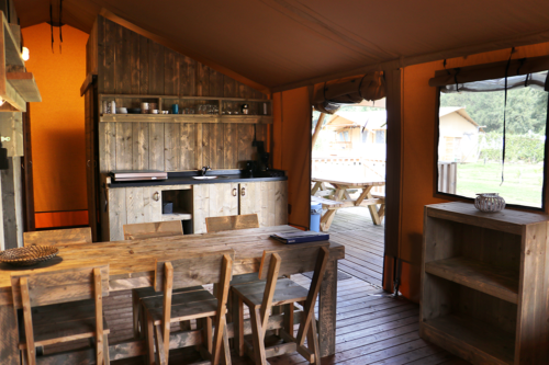Glamping lodge kitchen diner at Duinhoeve holiday park in Holland/The Netherlands