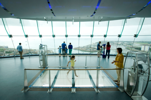 A glass floor on the viewing platform at Spinnaker Tower