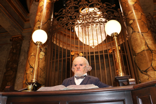 A goblin banker at Gringotts at Harry Potter Studios in London