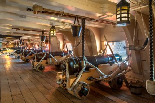 A gun deck on HMS Victory