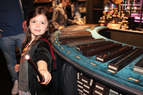 Wands for sale at the shop at the Harry Potter Studio Tour in London