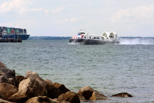 The Hovertravel Hovercraft crosses the water from Portsmouth to the Isle of Wight