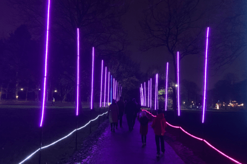 Tunnel of light at Lightopia, Heaton Park, Manchester