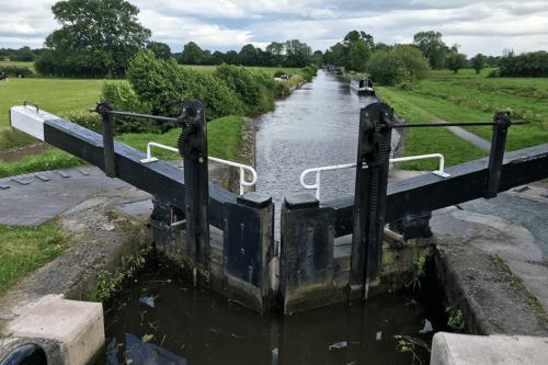 The view from up high in a lock on the Llangollen Canal