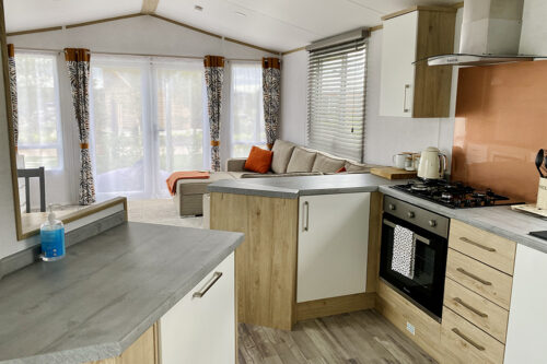 Inside the lodge at Love2Stay holiday park in Shropshire