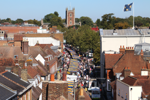 Market day in St Albans, our view from the Clock Tower