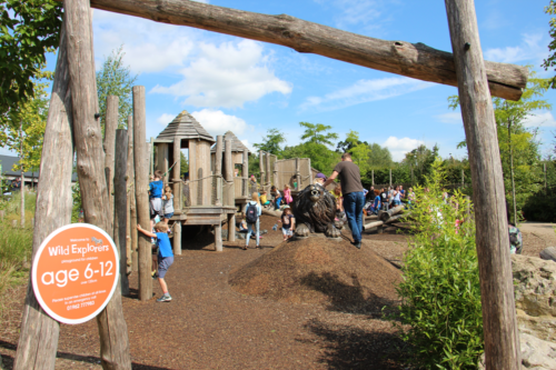 Children play in a play area at Marwell Zoo