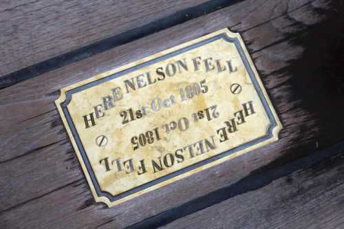 The plaque on HMS Victory where Nelson fell