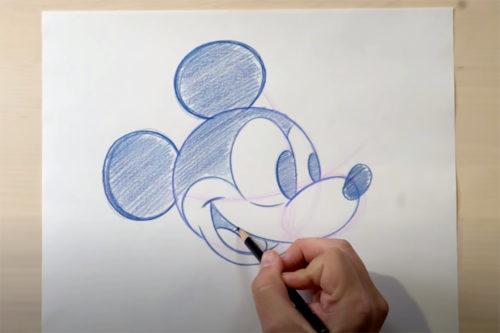Stephen Ketchum shows how to draw Mickey Mouse with Disney tutorials on the Disney Parks YouTube channel