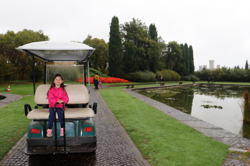 Riding a golf buggy at Parco Sigurta