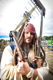 A pirate prepares for the egg hunts at Lightwater Valley in North Yorkshire