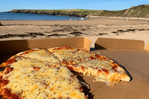 Pizza at Whistling Sands