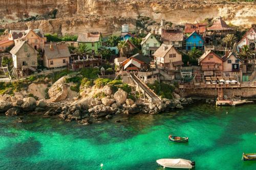 Aerial shot of Popeye Village in Malta