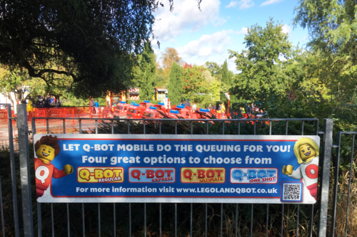 Q-Bots options sign at Legoland Windsor