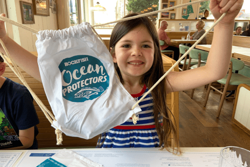 Children's bag of goodies at Rockfish restaurant in Exeter