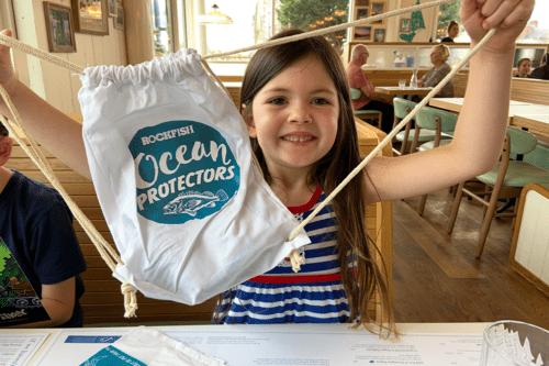 Children's bag of goodies at Rockfish restaurant in Exeter